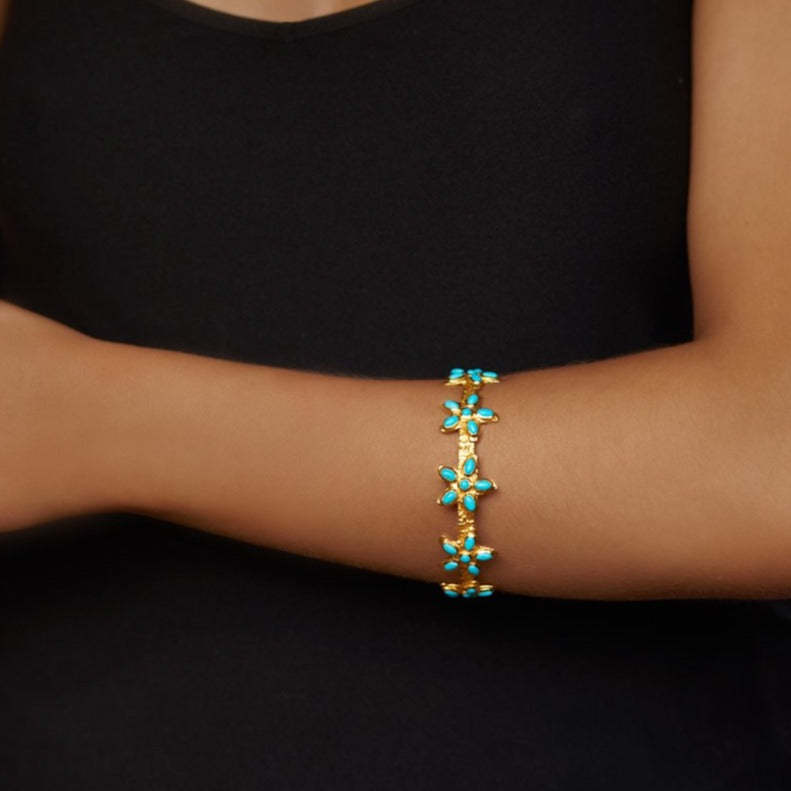 Arista Bangle - 24k Gold - Turquoise - Angelina Alvarez
