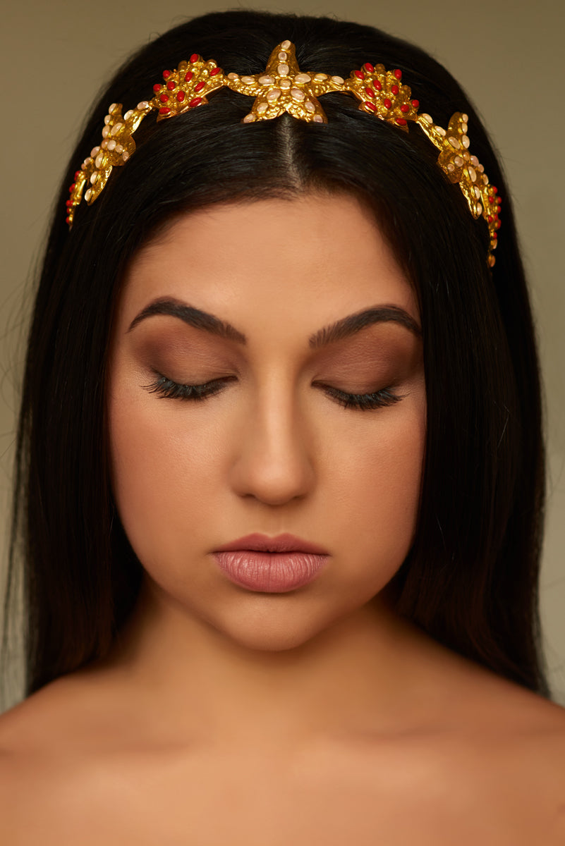 Atlantis Headband Crown - 24k Gold - Rose Quartz & Coral - Angelina Alvarez