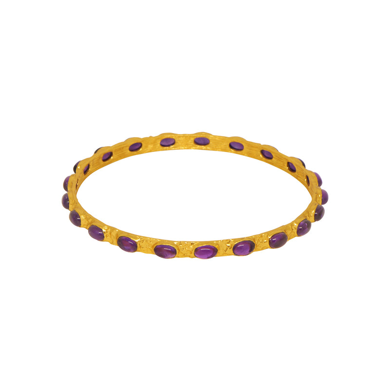 Attina Bangle - 24k Gold - Amethyst - Angelina Alvarez