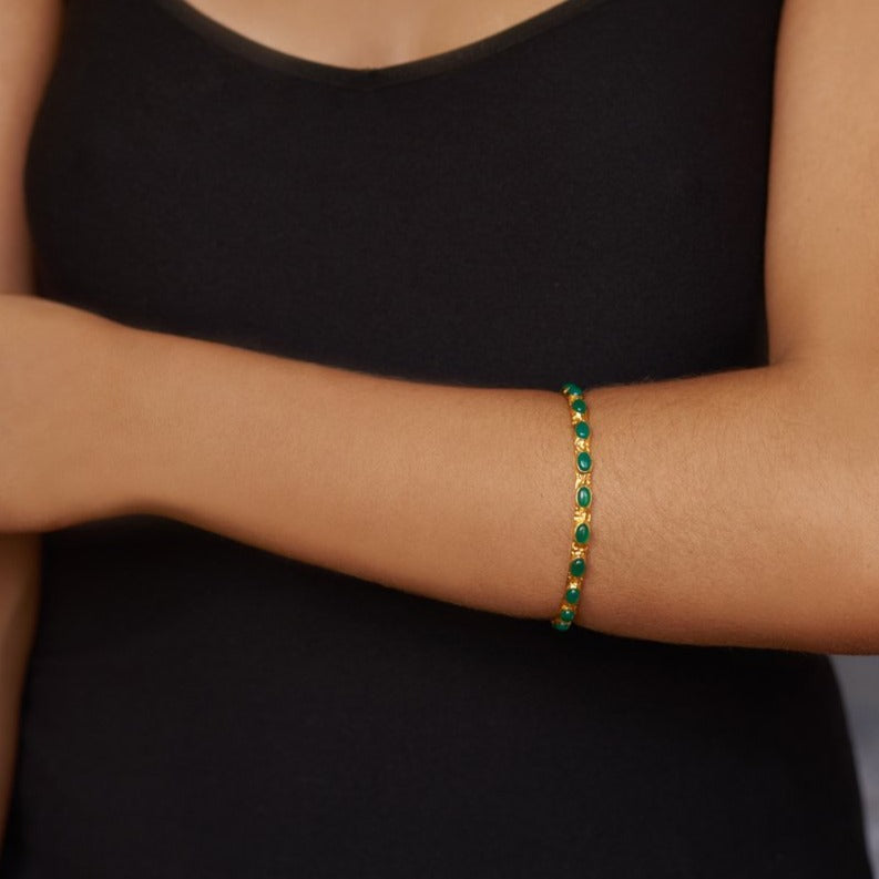 Attina Bangle - 24k Gold - Green Onyx - Angelina Alvarez