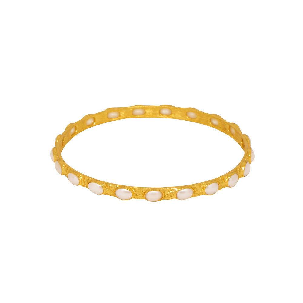 Attina Bangle - 24k Gold - Pearl - Angelina Alvarez