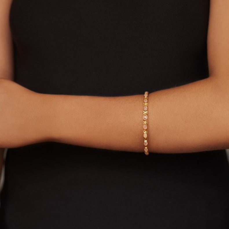Attina Bangle - 24k Gold - Rose Quartz - Angelina Alvarez