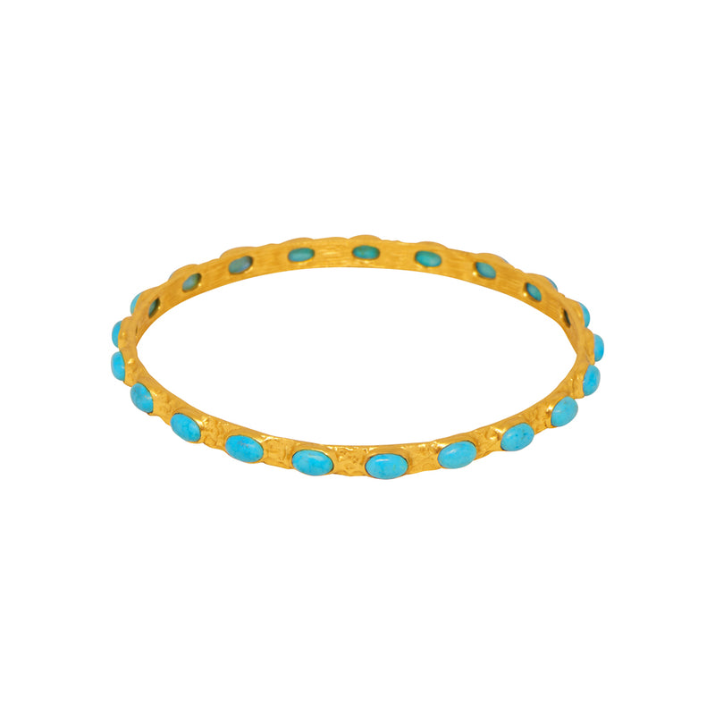 Attina Bangle - 24k Gold - Turquoise - Angelina Alvarez
