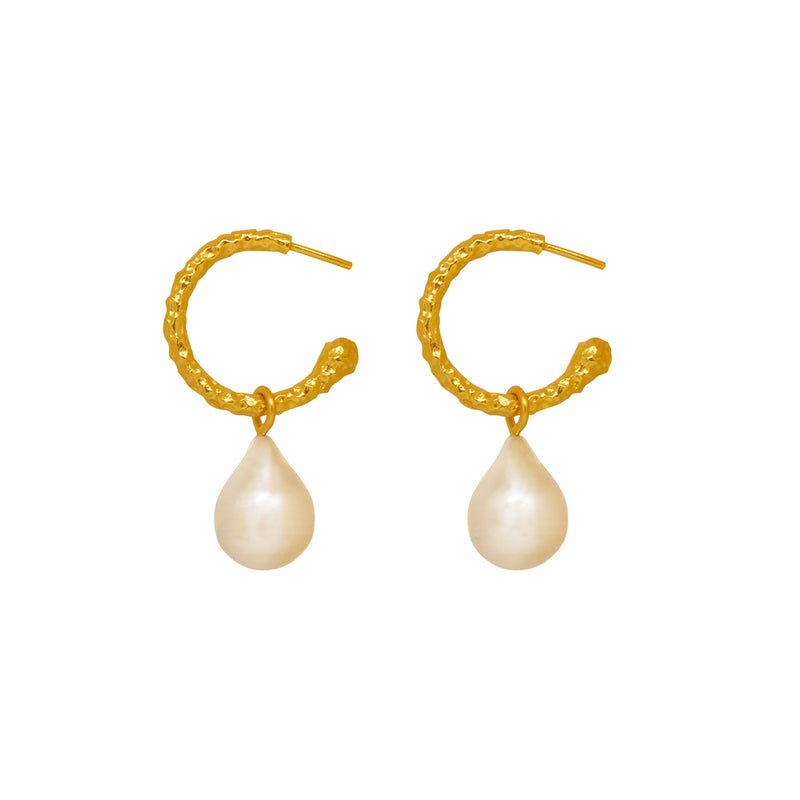 Ava Mini Earrings - 24k Gold - Pearl - Angelina Alvarez