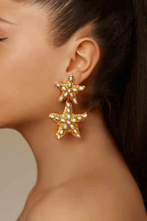 Carlotta Earrings - 24k Gold - Pearl - Angelina Alvarez