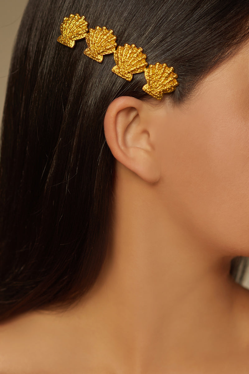 Lorelei Shell Hairpin - 24k Gold - Angelina Alvarez
