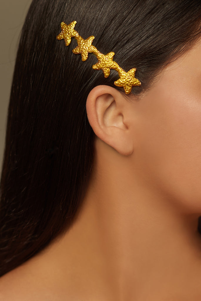 Lorelei Starfish Hairpin - 24k Gold - Angelina Alvarez