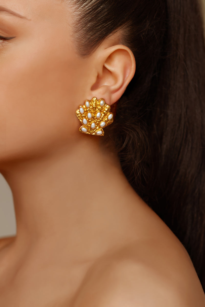 Marina Earrings - 24k Gold - Pearl - Angelina Alvarez