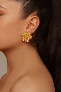Marina Earrings - 24k Gold - Rose Quartz - Angelina Alvarez