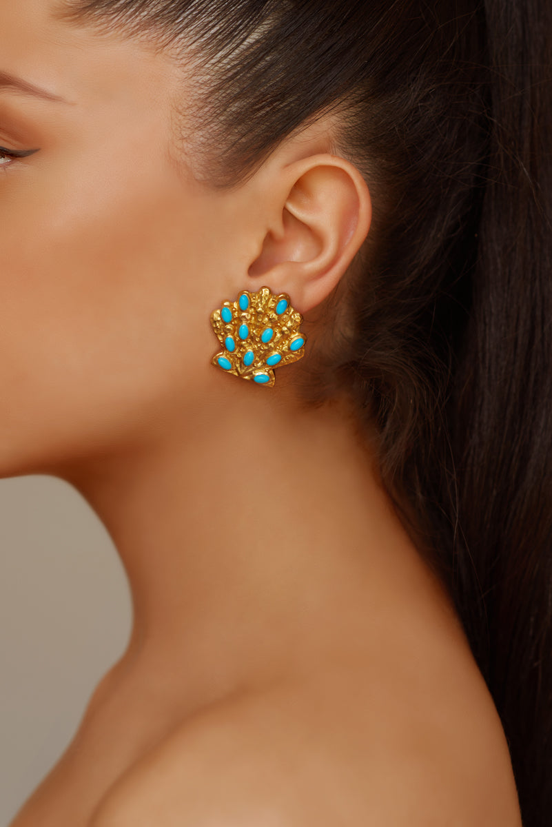 Marina Earrings - 24k Gold - Turquoise - Angelina Alvarez