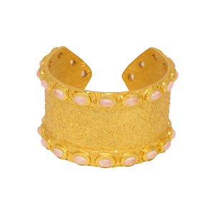 Siren Cuff - 24k Gold - Rose Quartz - Angelina Alvarez