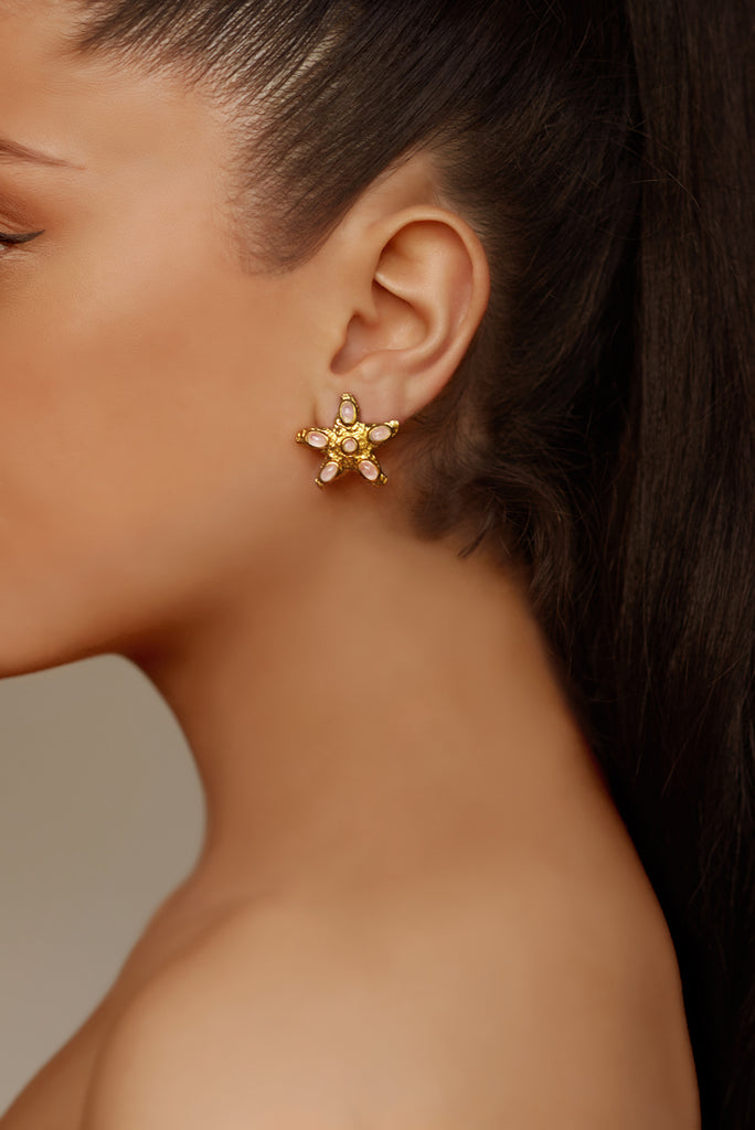 Stella Earrings - 24k Gold - Rose Quartz - Angelina Alvarez