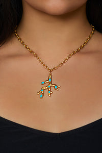 Triton Necklace - 24k Gold - Turquoise - Angelina Alvarez