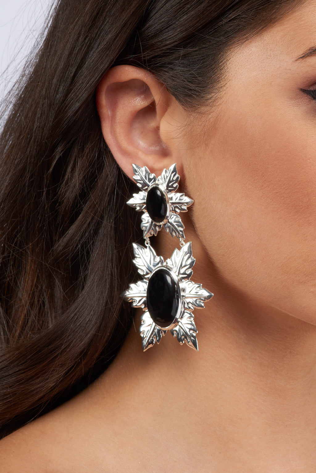 Florentina Earrings - Silver - Black onyx - Angelina Alvarez