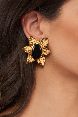 Florentina Mini Earrings - 24k Gold - Black Onyx