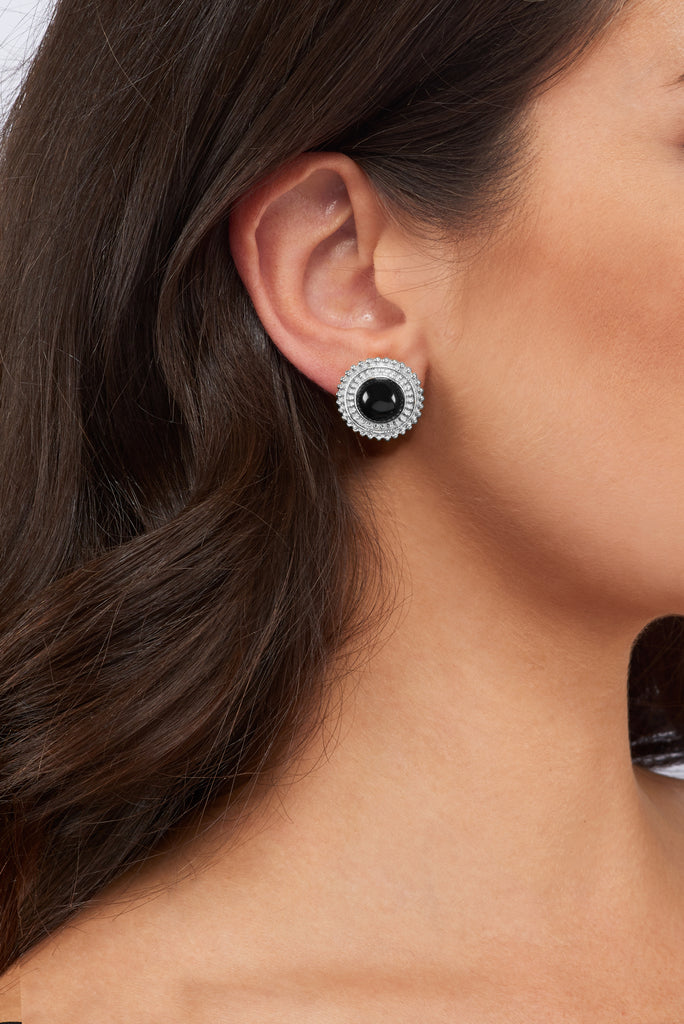 Adela Mini Earrings - Silver - Black Onyx - Angelina Alvarez