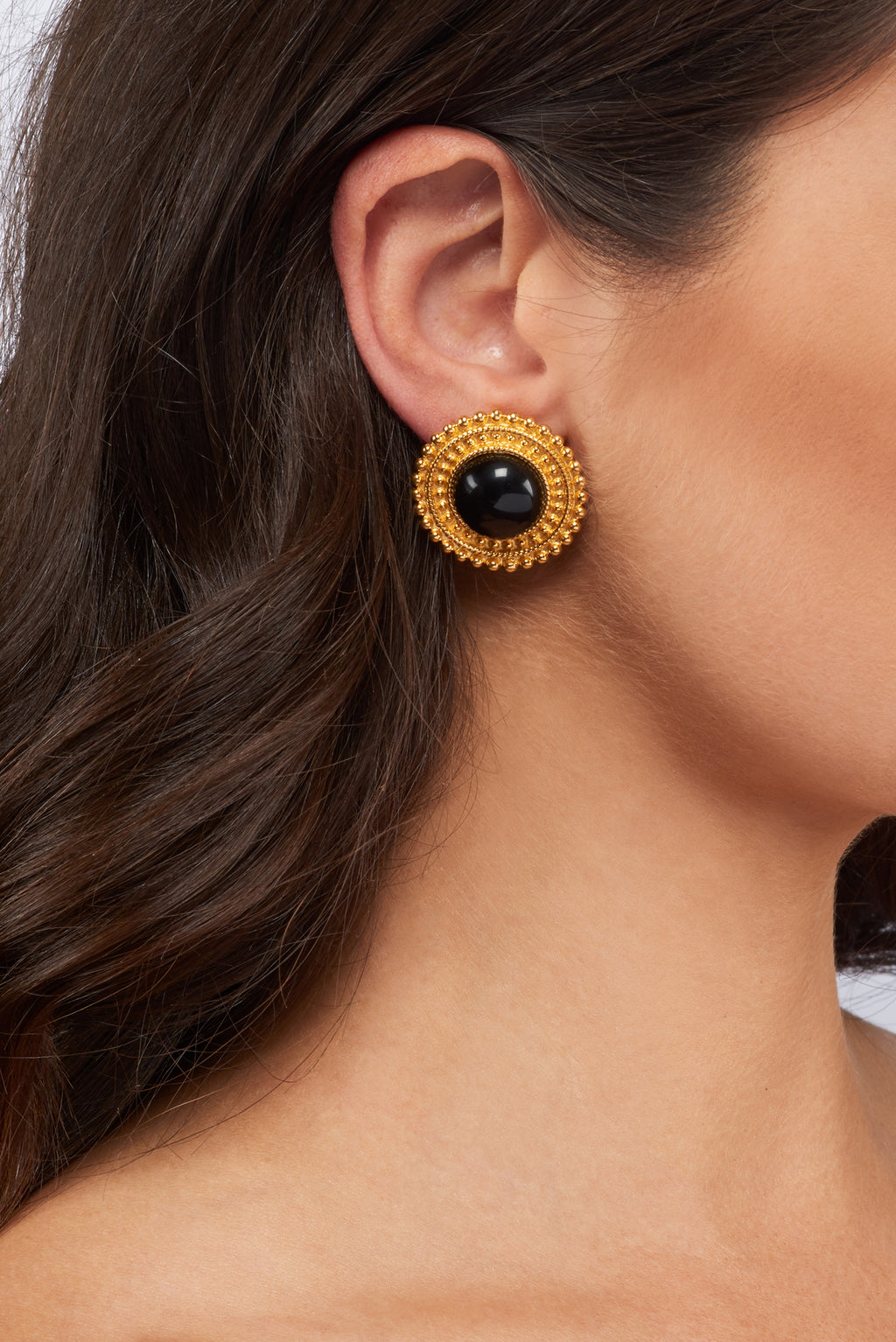 Adela Earrings - 24k Gold - Black Onyx - Angelina Alvarez