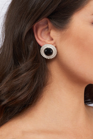 Adela Earrings - Silver - Black Onyx - Angelina Alvarez