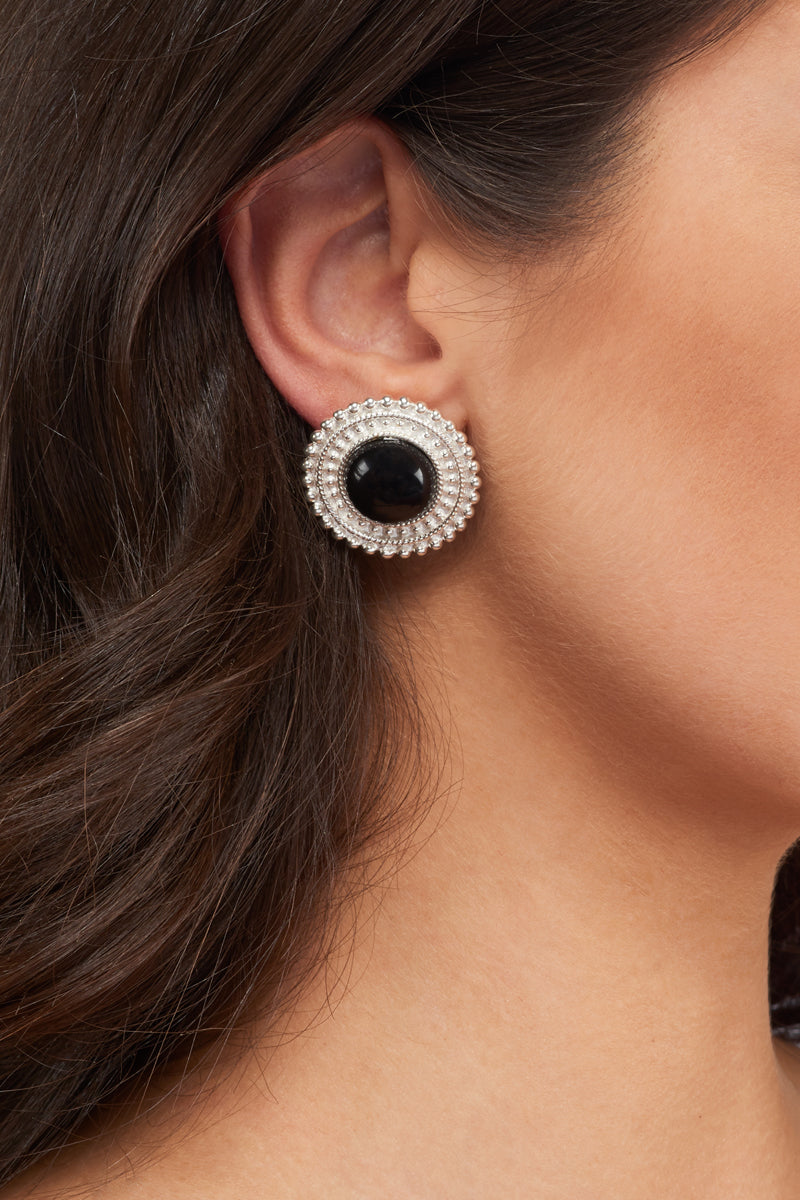 Adela Earrings - Silver - Black Onyx