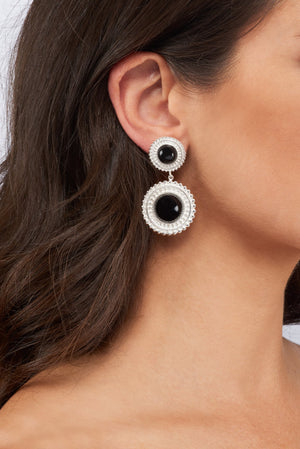 Adela Drop Earrings - Silver - Black Onyx - Angelina Alvarez