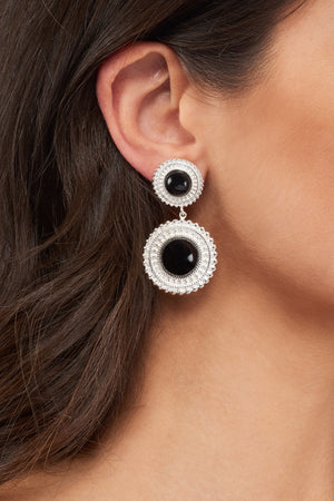 Adela Drop Earrings - Silver - Black Onyx