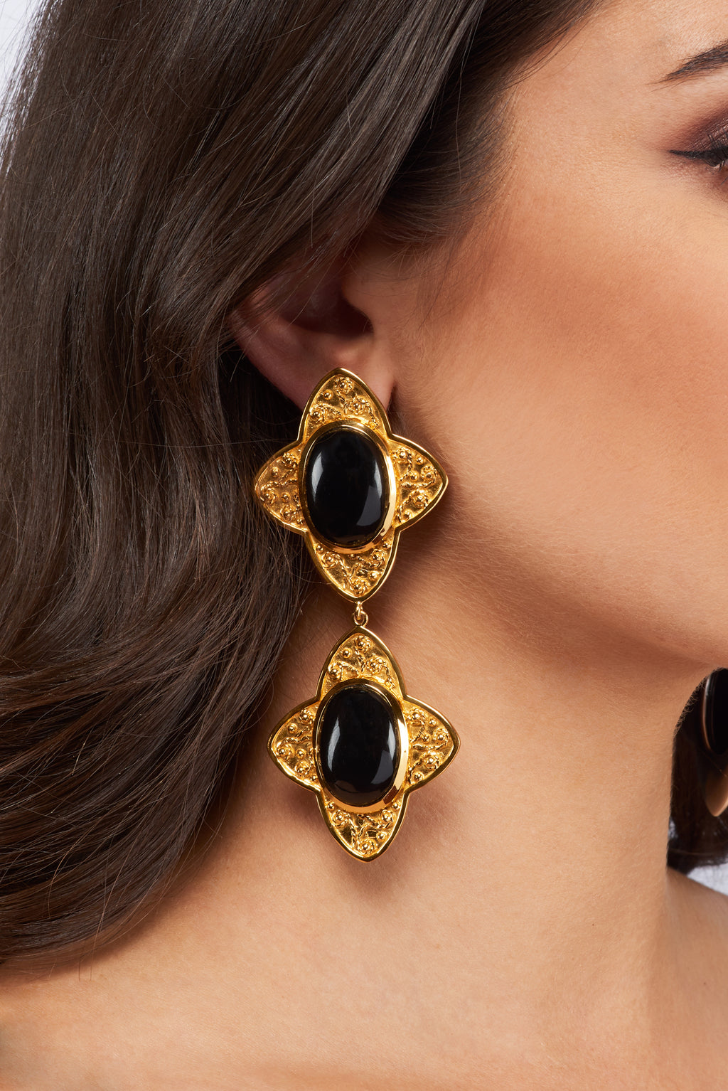 Carolina Earrings - 24k Gold - Black Onyx - Angelina Alvarez
