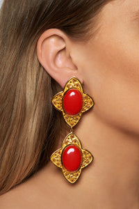 Carolina Earrings - 24k Gold - Coral