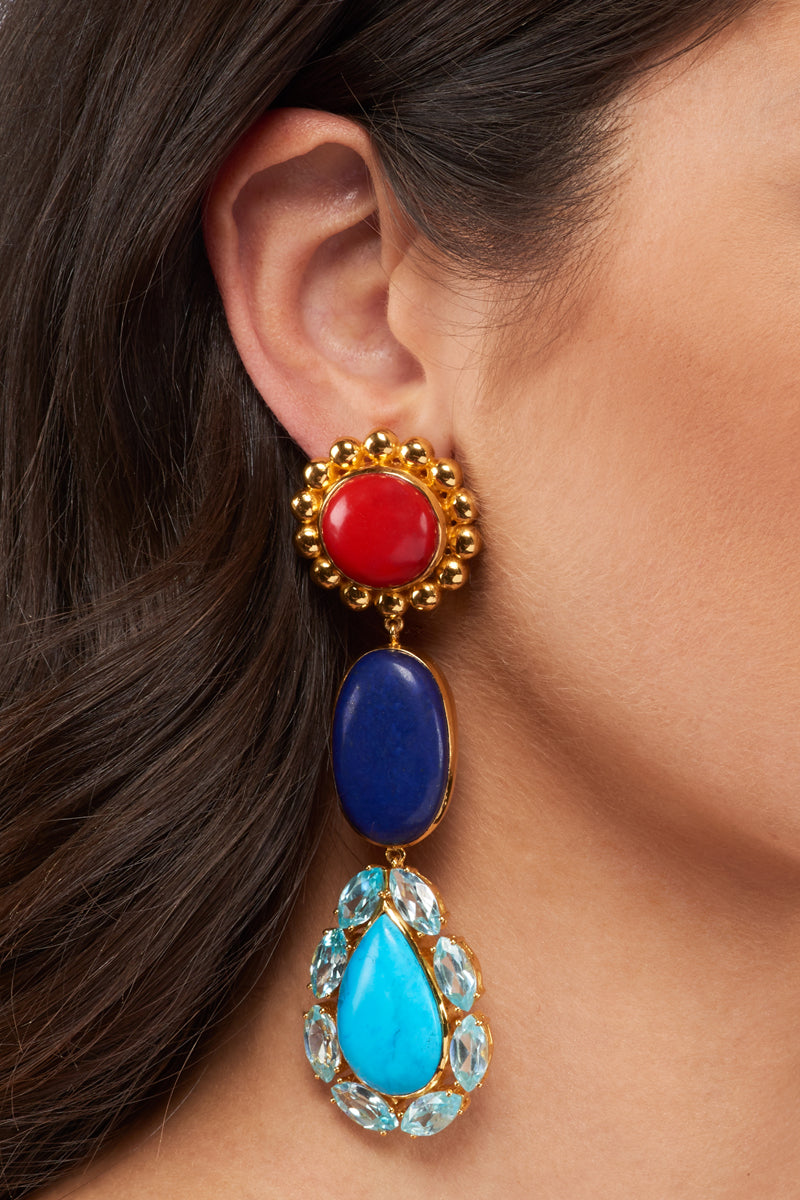 Seville Earrings - 24k Gold - Coral, Lapis, Turquoise & Topaz Cubic Zirconia