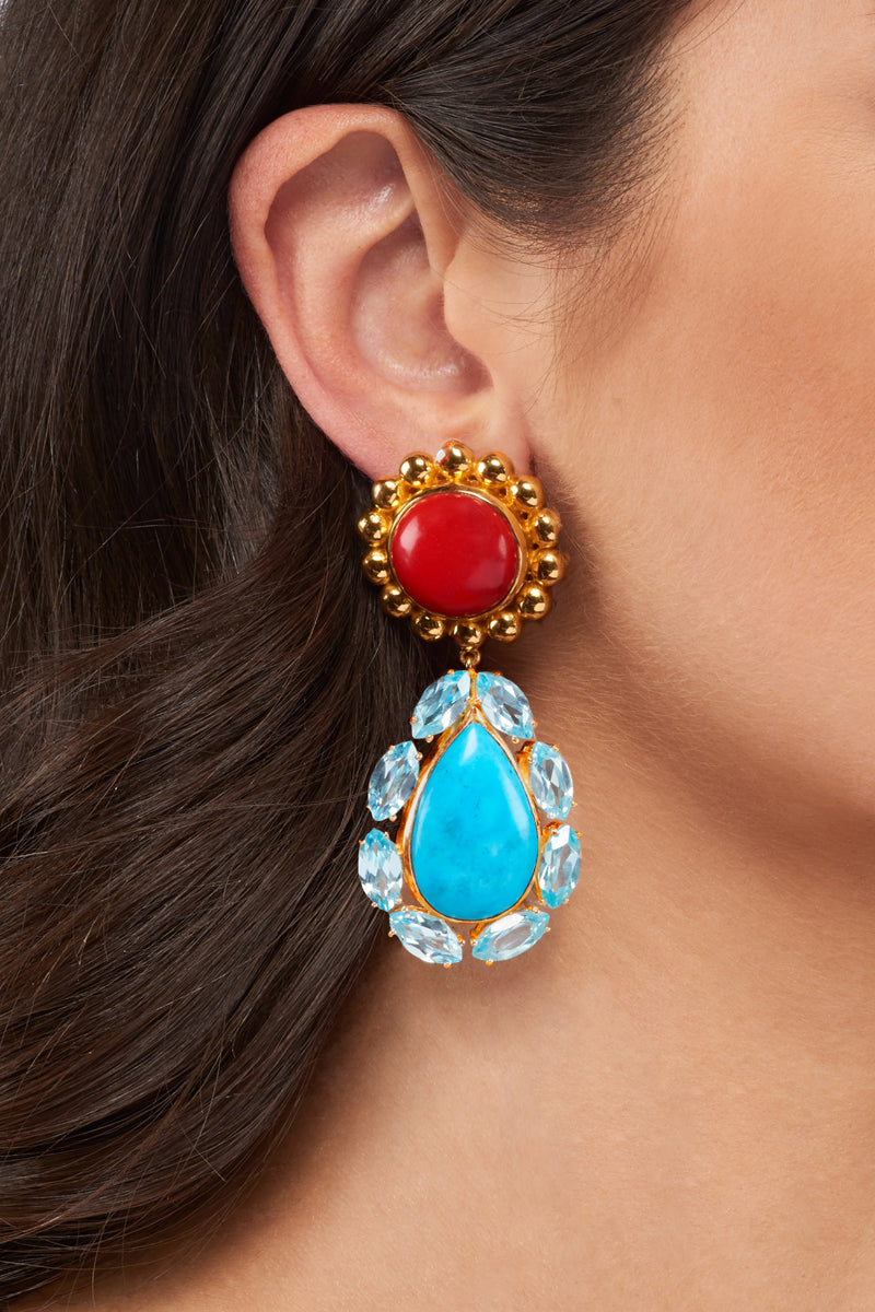 Seville II Earrings - 24k Gold - Coral, Turquoise & Topaz Cubic Zirconia