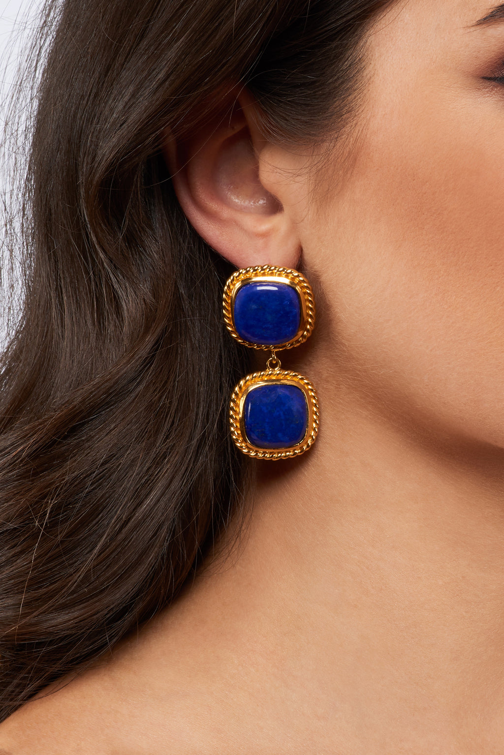 Helena Earrings - 24k Gold OR Silver - Lapis - Angelina Alvarez