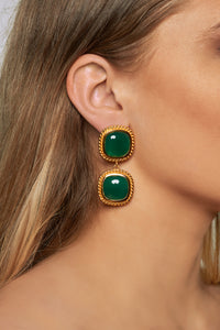 Helena Earrings - 24k Gold - Green Onyx - Angelina Alvarez