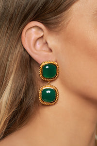 Helena Earrings - 24k Gold - Green Onyx