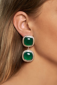 Helena Earrings - Silver - Green Onyx