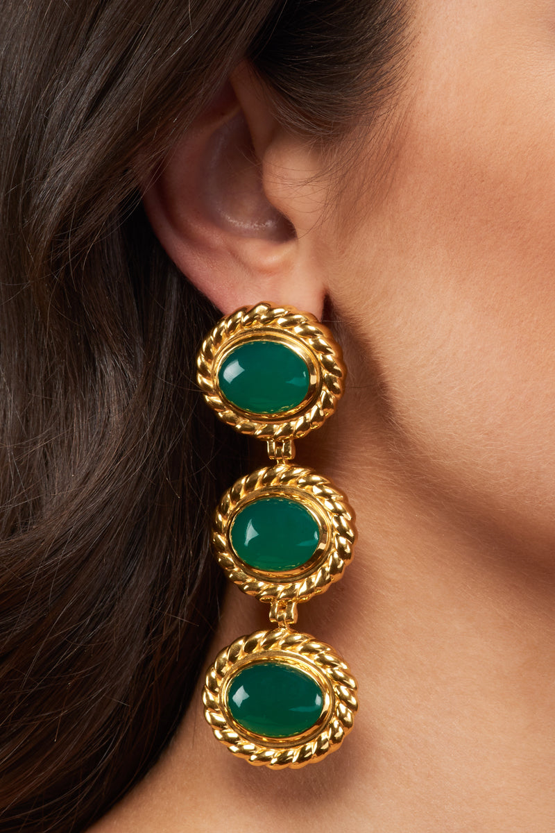 Alexandria Earrings - 24k Gold OR Silver - Green Onyx