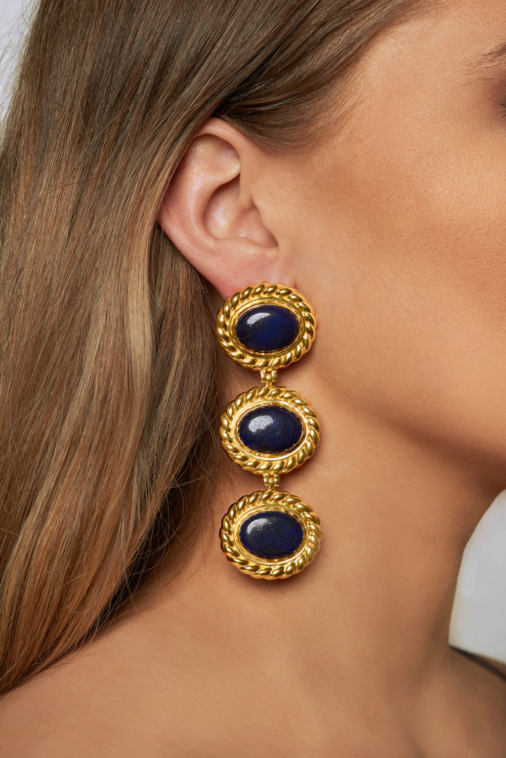 Alexandria Earrings - 24k Gold OR Silver - Lapis - Angelina Alvarez