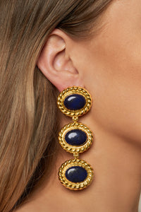 Alexandria Earrings - 24k Gold OR Silver - Lapis