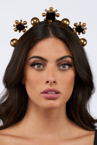 Catarina Crown - 24k Gold - Black Onyx - Angelina Alvarez
