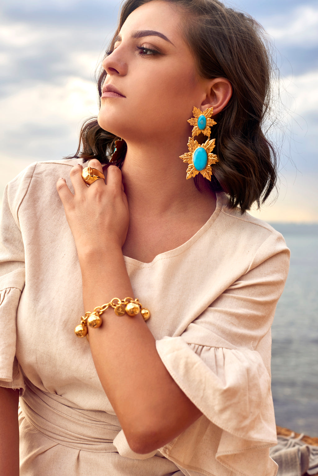 Florentina Earrings - 24k Gold - Turquoise - Angelina Alvarez