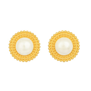 Adela Mini Earrings - 24k Gold - Pearl - Angelina Alvarez