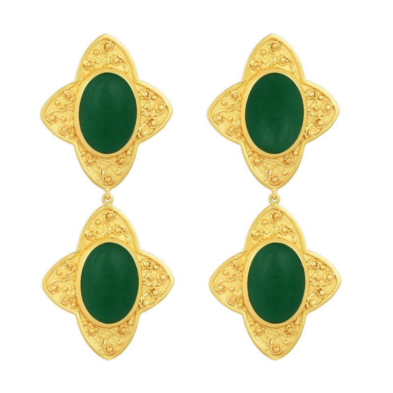 Carolina Earrings - 24k Gold - Green Onyx - Angelina Alvarez