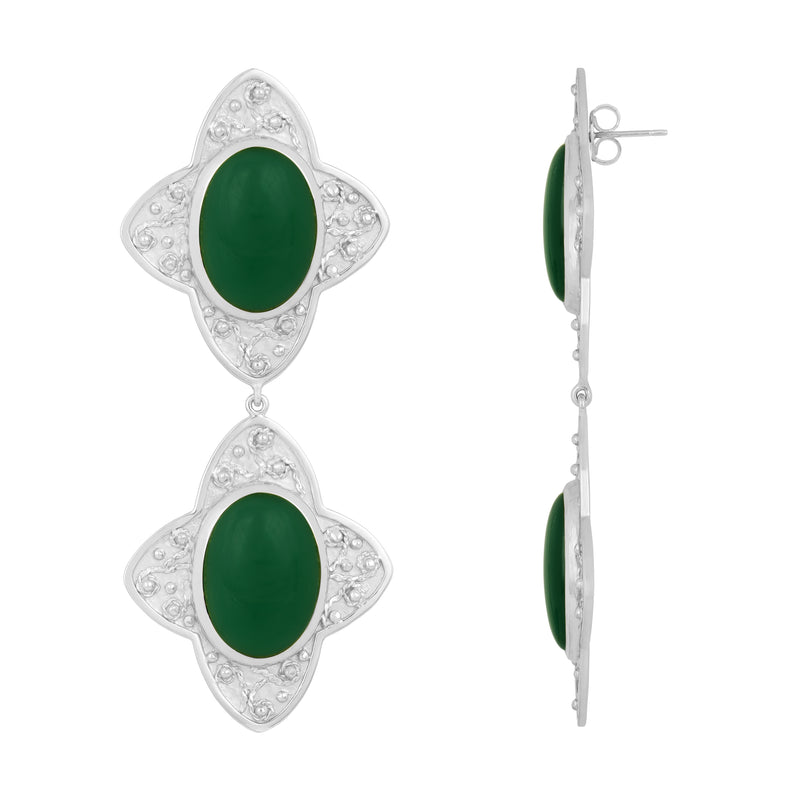 Carolina Earrings - Silver - Green Onyx - Angelina Alvarez