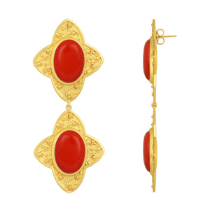 Carolina Earrings - 24k Gold - Coral - Angelina Alvarez