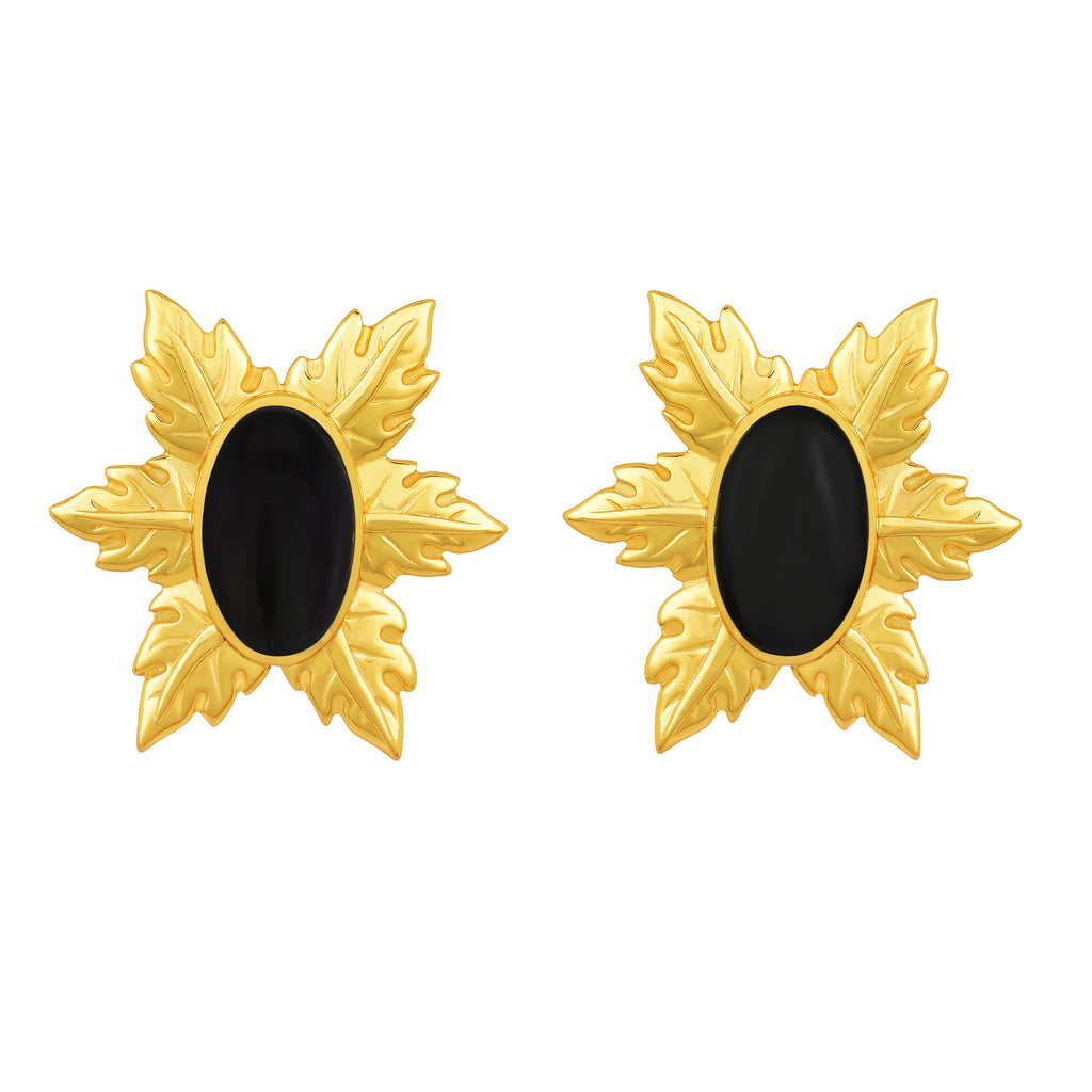 Florentina Mini Earrings - 24k Gold - Black Onyx - Angelina Alvarez
