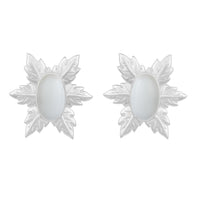 Florentina Mini Earrings - Silver - White Onyx - Angelina Alvarez