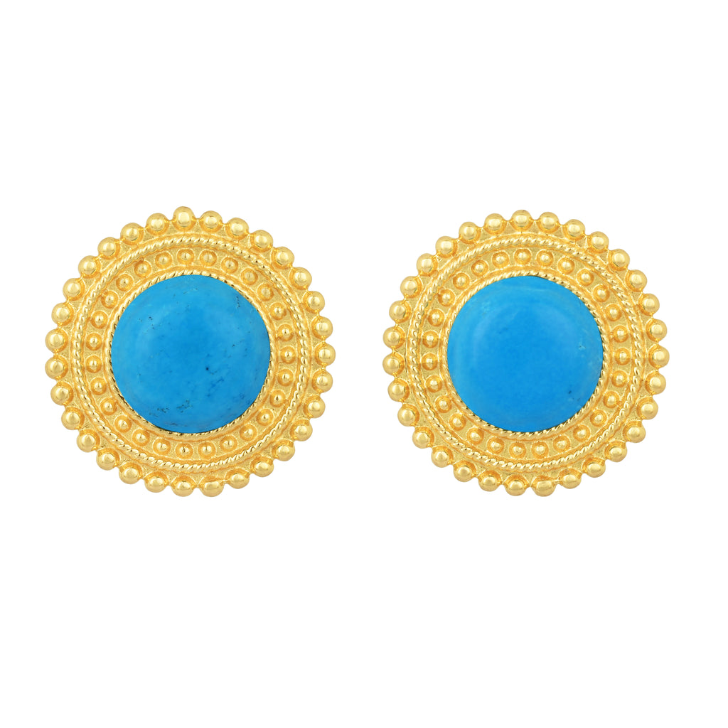 Adela Earrings - 24k Gold - Turquoise - Angelina Alvarez