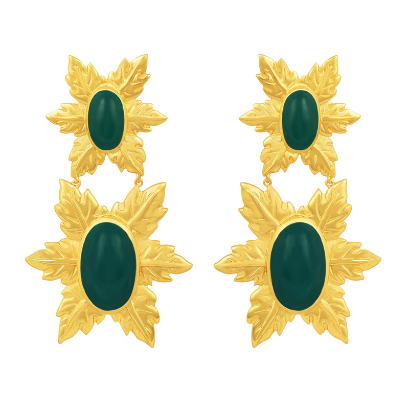 Florentina Earrings - 24k Gold - Green Onyx - Angelina Alvarez