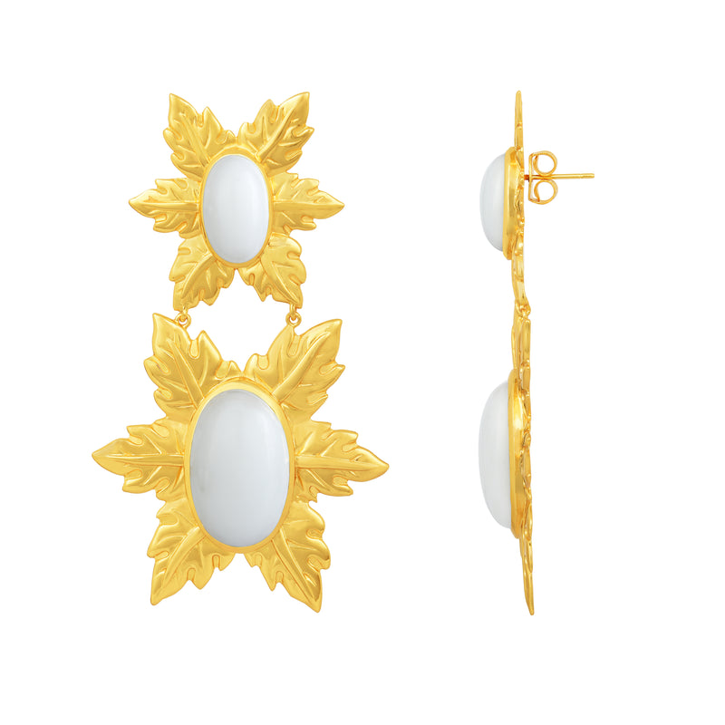 Florentina Earrings - 24k Gold - White Onyx - Angelina Alvarez