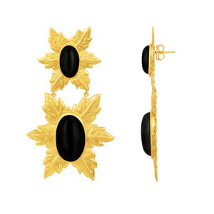 Florentina Earrings - 24k Gold - Black Onyx - Angelina Alvarez