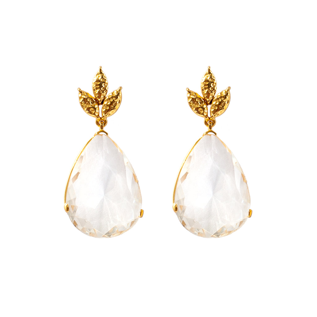 Amelia Earrings - 24k Gold - Crystal - Angelina Alvarez