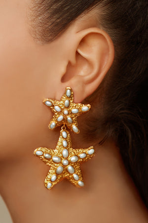 Carlotta Earrings - 24k Gold - Pearl